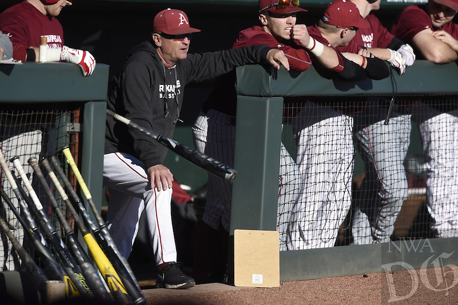 NWA Democrat-Gazette/MICHAEL WOODS @NWAMICHAELW<br /> University of Arkansas baseball coach Dave Van Horn watches his team practice Friday, January 27, during Razorback baseball teams first practice for the 2017 season at Baum Stadium.