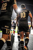 The Sharks walk out for the Super Rugby match between the Hurricanes and Sharks at Westpac Stadium, Wellington, New Zealand on Saturday, 9 May 2015. Photo: Dave Lintott / lintottphoto.co.nz