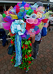 LOUISVILLE, KY - MAY 05: A fan is decked out in a Derby roses dress and a fancy hat on Kentucky Derby Day at Churchill Downs on May 5, 2018 in Louisville, Kentucky. (Photo by Scott Serio/Eclipse Sportswire/Getty Images)