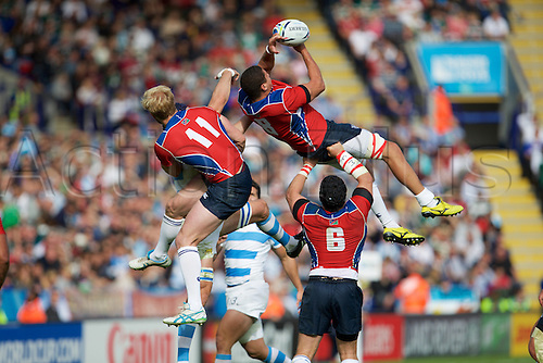 11.10.2015. King Power Stadium, Leicester, England. Rugby World Cup. Argentina versus Namibia. Namibia number 8 Leneve Damens jumps for the ball.