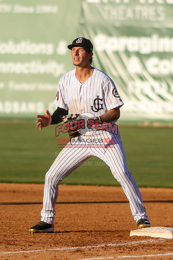 Jackson Generals second baseman Galli Cribbs Jr. (2) awaits a throw at first base following a bunt during a Southern League game against the Biloxi Shuckers on June 13, 2019 at The Ballpark at Jackson in Jackson, Tennessee. Jackson defeated Biloxi 5-4. (Brad Krause/Four Seam Images)