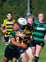 Action from the 2019 Manawatu premier club rugby union match between Te Kawau and Feilding Yellows at Rongotea Domain in Rongotea, New Zealand on Saturday, 13 April 2019. Photo: Dave Lintott / lintottphoto.co.nz