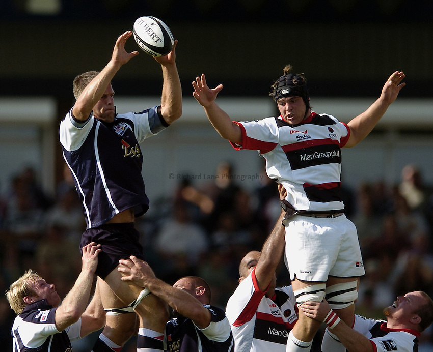 Photo: Jonathan Butler..Bristol Rugby v Saracens. Guinness Premiership. 10/09/2006..Tom Ryder (rt) of Saracens jumps against Gareth Llewellyn of Bristol.