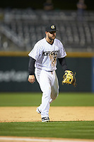Charlotte Knights third baseman D.J. Peterson (34) on defense against the Toledo Mud Hens at BB&T BallPark on April 23, 2019 in Charlotte, North Carolina. The Knights defeated the Mud Hens 11-9 in 10 innings. (Brian Westerholt/Four Seam Images)