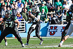 North Texas Mean Green quarterback Derek Thompson (7) in action during the Heart of Dallas Bowl game between the North Texas Mean Green and the UNLV Rebels at the Cotton Bowl Stadium in Dallas, Texas. UNT defeats UNLV 36 to 14.