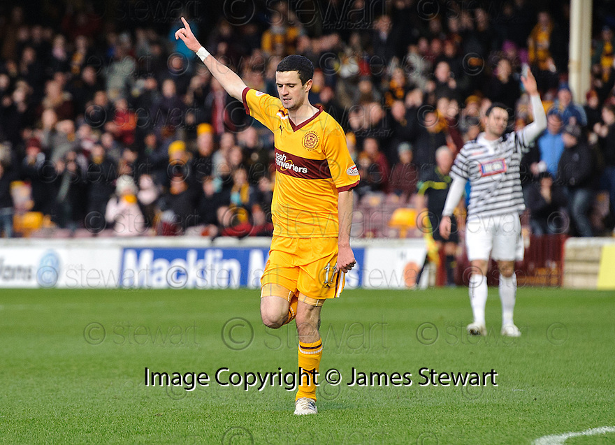 MOTHERWELL'S JAMIE MURPHY CELEBRATES AFTER HE SCORES MOTHERWELL'S SECOND GOAL..07/01/2012 sct_jsp002_motherwell_v_queens_park     .Copyright  Pic : James Stewart.James Stewart Photography 19 Carronlea Drive, Falkirk. FK2 8DN      Vat Reg No. 607 6932 25.Telephone      : +44 (0)1324 570291 .Mobile              : +44 (0)7721 416997.E-mail  :  jim@jspa.co.uk.If you require further information then contact Jim Stewart on any of the numbers above.........