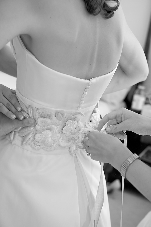 Bride getting dressed, Apawamis Country Club, Rye, NY