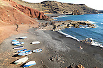 Fishing boats black sand beach, El Golfo, Lanzarote, Canary Islands, Spain