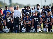 Head coach Kevin Wright, Ramsey Kifolo (64), Michael Silveira, Greg Crippen (74), Anton Jallai (87) - Norland Vikings (Miami) vs IMG Academy Football on October 26, 2019 at IMG Academy in Bradenton, Florida.  (Mike Janes Photography)