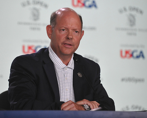 Mike Davis, USGA Chief Executive Officer, speaks with the media regarding a penalty assessed to Phil Michelson after he struck a moving ball on the 13th Hole in the third round of the U.S. Open Championship at Shinnecock Hills Golf Club in Southampton on Saturday, June 16, 2018.