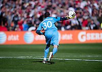 Andy Gruenebaum (30) of the Columbus Crew throws the ball out to a defender during the game at RFK Stadium in Washington, DC.  Columbus Crew defeated D.C. United, 2-1.