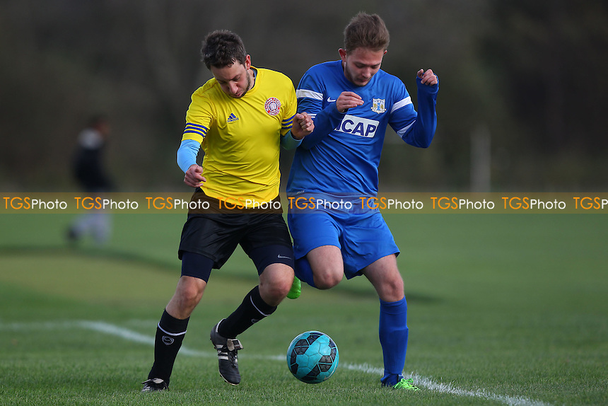 Gladstone Wanderers (blue) vs Waltham Forest United, Hackney & Leyton Sunday League Dickie Davies Cup Football at Hackney Marshes, Hackney, England on 15/11/2015