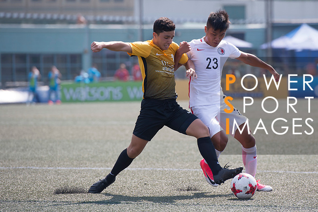 HKFA Red Dragons (in white) vs Singapore Cricket Club (in yellow), during their Main Tournament Plate Quarter-Final match, part of the HKFC Citi Soccer Sevens 2017 on 28 May 2017 at the Hong Kong Football Club, Hong Kong, China. Photo by Marcio Rodrigo Machado / Power Sport Images
