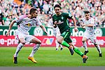 15.04.2018, Weserstadion, Bremen, GER, 1.FBL, Werder Bremen vs RB Leipzig, <br /> <br /> im Bild | picture shows:<br /> Thomas Delaney (SV Werder Bremen #6) gegen Stefan Ilsanker (RB Leipzig #13) auf dem Weg zum Tor, <br /> <br /> <br /> Foto &copy; nordphoto / Rauch