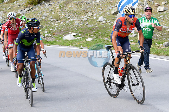 Nairo Quintana (COL) Movistar Team and Vincenzo Nibali (ITA) Bahrain-Merida on the slopes of the Umbrail Pass the final climb during Stage 16 of the 100th edition of the Giro d'Italia 2017, running 222km from Rovetta to Bormio, Italy. 23rd May 2017.<br /> Picture: LaPresse/Fabio Ferrari | Cyclefile<br /> <br /> <br /> All photos usage must carry mandatory copyright credit (&copy; Cyclefile | LaPresse/Fabio Ferrari)