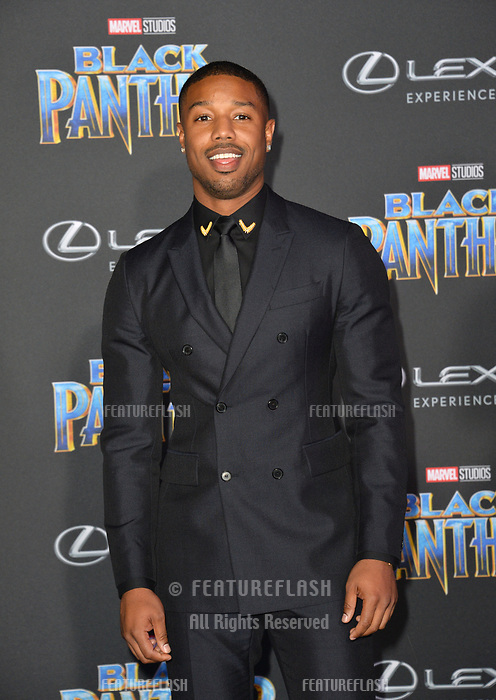 "Michael B. Jordan at the world premiere for ""Black Panther"" at the Dolby Theatre, Hollywood, USA 29 Jan. 2018<br /> Picture: Paul Smith/Featureflash/SilverHub 0208 004 5359 sales@silverhubmedia.com"