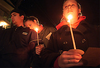 SANTA BARBARA, Calif.  Grieving the dead, Family and friends of four people  killed, gather for a Monday night candlelight ceremony in memory  of those killed:  Nicholas Shaw Bourdakis and Christopher Edward Divis, both 20 and UCSB students; Ruth Dasha Golda Levy, 20, a Santa Barbara City College student; and Elie Israel, 27, of San Francisco.â all died when a car allegedly driven by David Edward Attias, 18, crashed into the group Friday night.    Levy's older brother, Albert Arthur Levy, 27, remained in critical condition Monday after undergoing multiple surgeries.â