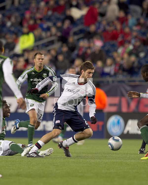 New England Revolution midfielder Stephen McCarthy (26) at midfield. In a Major League Soccer (MLS) match, the New England Revolution tied the Portland Timbers, 1-1, at Gillette Stadium on April 2, 2011.