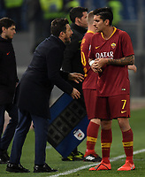 Eusebio Di Francesco of AS Roma and Lorenzo Pellegrini of AS Roma during the Serie A 2018/2019 football match between AS Roma and FC Bologna at stadio Olimpico, Roma, February 18, 2019 <br />  Foto Andrea Staccioli / Insidefoto