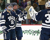 Nate Renpensky (Yale - 18), Mitch Witek (Yale - 10), Alex Lyon (Yale - 34) - The visiting Yale University Bulldogs defeated the Harvard University Crimson 2-1 (EN) on Saturday, November 15, 2014, at Bright-Landry Hockey Center in Cambridge, Massachusetts.