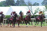 HOT SPRINGS, AR - April 14: The field runs down the stretch for the first time in the Apple Blossom Handicap at Oaklawn Park on April 14, 2017 in Hot Springs, AR. (Photo by Ciara Bowen/Eclipse Sportswire/Getty Images)