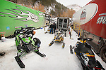 DEADWOOD, SD - FEBRUARY 1, 2013:  Mechanics and racers in the pit area get their sleds ready for the ISOC Amsoil Deadwood Snocross event Friday at the Days of 76 Rodeo Grounds in Deadwood, S.D.   (Photo by Richard Carlson/dakotapress.org)