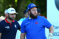 Andrew beefy Johnston and Andy Sullivan at the 6th tee during the BMW PGA Golf Championship at Wentworth Golf Course, Wentworth Drive, Virginia Water, England on 26 May 2017. Photo by Steve McCarthy/PRiME Media Images.