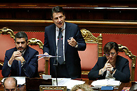 Riccardo Fraccaro minister for the relationships with parliament, Premier Giuseppe Conte e Elisabetta Trenta, Minister of Justice<br /> Roma 12/09/2018. Senato. Informativa sulla Nave Diciotti<br /> Rome September 12th 2018. Senate. Speech of the Italian Premier about the Diciotti ship, carrying 177 migrants, rejected by Italy.<br /> Foto Samantha Zucchi Insidefoto