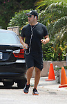 "8-22-09.. Jeremy Piven shows off his ""Goods""!.Jeremy jogging in Malibu, ca. Jeremy runs about three miles a day. Jeremy seems to be trying to promote his new movie ""The GOODS"" by wearing the hat....AbilityFilms@yahoo.com.805-427-3519.www.AbilityFilms.com"