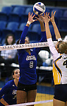 Marymount's Cailyn Thomas jousts at the net in a college volleyball game against St. Mary's, in Lexington Park, MD, on Wednesday, Oct. 29, 2014. Marymount won 3-2 to go 24-9 on the season.<br />