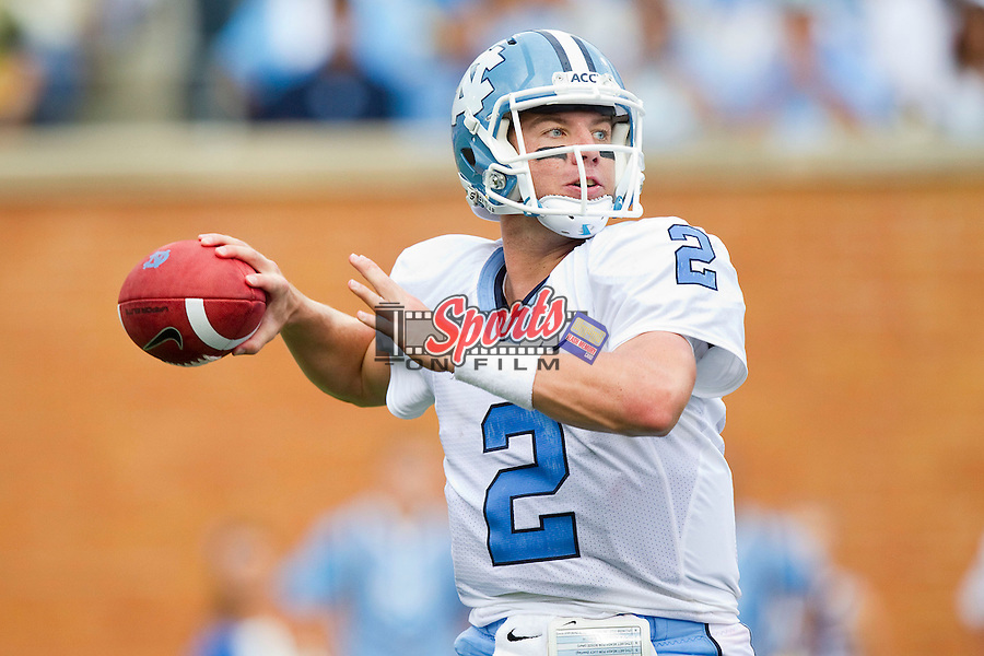 Bryn Renner (2) of the North Carolina Tar Heels looks to pass the ball during the game against the Wake Forest Demon Deacons at BB&T Field on September 8, 2012 in Winston-Salem, North Carolina.  The Demon Deacons defeated the Tar Heels 28-27.  (Brian Westerholt/Sports On Film)
