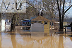 Residential area flooded by Ohio River, the flood of nineteen ninety seven. Utica, Indiana