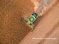 63801-09412 Soybean Harvest, John Deere combine harvesting soybeans - aerial - Marion Co. IL