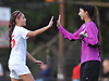 Sacred Heart No. 15 Melissa Biscardi, left, celebrates with goalie Sara Micheli after their team's 3-1 win over St. John the Baptist in a CHSAA varsity girls' soccer game at Sacred Heart Academy on Monday, October 5, 2015.<br /> <br /> James Escher