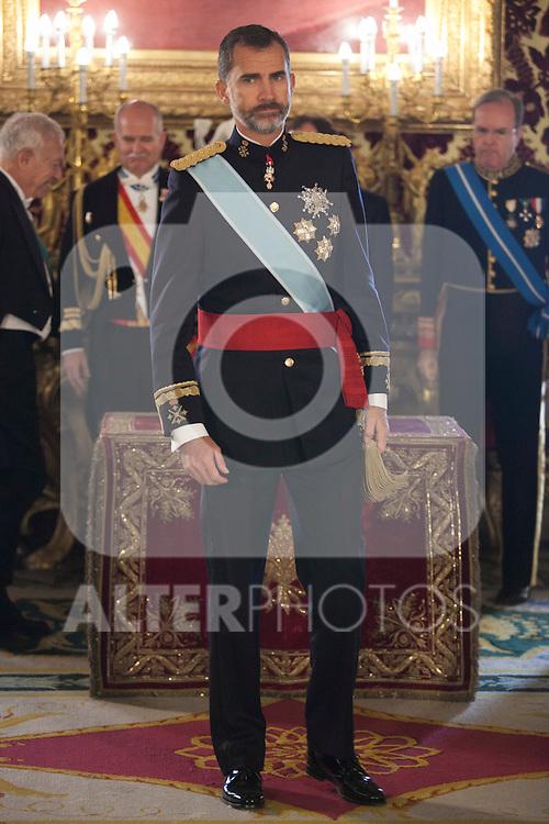 King of Spain Felipe VI receives and gives credential letters to Japan´s ambassador Kazuhiko Koshikawa at Royal Palace `Palacio Real´in Madrid, Spain. October 06, 2014. (ALTERPHOTOS/Victor Blanco)
