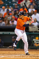 Houston Astros designated hitter Jason Castro (15) at bat during the MLB baseball game against the Detroit Tigers on May 3, 2013 at Minute Maid Park in Houston, Texas. Detroit defeated Houston 4-3. (Andrew Woolley/Four Seam Images).