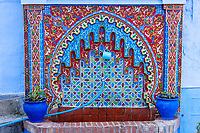 Chefchaouen, Morocco.  Public Drinking Fountain and water Tap.