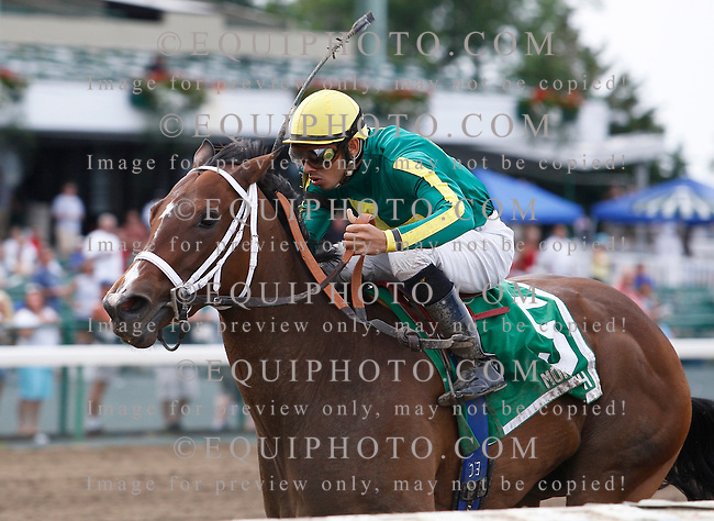 Hidden Expression #5 with Eddie Castro riding won the $65,000 Colleen Stakes at Monmouth Park in Oceanport, N.J.  Photo By Bill Denver/EQUI-PHOTO