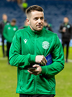 5th February 2020; Ibrox Stadium, Glasgow, Scotland; Scottish Premiership Football, Rangers versus Hibernian; Marc McNulty of Hibernian inspects pitch before kick off