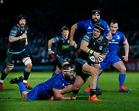 p28th February 2020; RDS Arena, Dublin, Leinster, Ireland; Guinness Pro 14 Rugby, Leinster versus Glasgow; George Turner of Glasgow is tackled by Michael Bent of Leinster