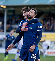 1st February 2020; Cappielow Park, Greenock, Inverclyde, Scotland; Scottish Championship Football, Greenock Morton versus Dundee Football Club; Kane Hemmings of Dundee is congratulated after scoring for 1-0 by Oliver Crankshaw