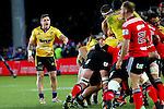 NELSON, NEW ZEALAND - MAY 29:   T J Perenara of the Hurricanes barks orders at his forwards as they push toward the try line during the Round 16 Super Rugby match between the Crusaders and the Hurricanes at Trafalgar Park on May 29, 2015 in Nelson, New Zealand. (Photo by Marc Palmano/Shuttersport Limited)