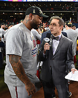 HOUSTON - OCTOBER 30: Ken Rosenthal talks to Howie Kendrick following World Series Game 7: Washington Nationals at Houston Astros on Fox Sports at Minute Maid Park on October 30, 2019 in Houston, Texas. (Photo by Frank Micelotta/Fox Sports/PictureGroup)