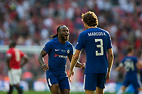 Chelsea's Victor Moses celebrates with team mate Marcos Alonso at the final whistle <br /> <br /> Photographer Craig Mercer/CameraSport<br /> <br /> Emirates FA Cup Final - Chelsea v Manchester United - Saturday 19th May 2018 - Wembley Stadium - London<br />  <br /> World Copyright &copy; 2018 CameraSport. All rights reserved. 43 Linden Ave. Countesthorpe. Leicester. England. LE8 5PG - Tel: +44 (0) 116 277 4147 - admin@camerasport.com - www.camerasport.com