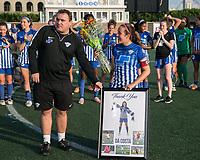 Allston, MA - Saturday August 19, 2017: Coach Lee Billiard; Amanda DaCosta during a regular season National Women's Soccer League (NWSL) match between the Boston Breakers and the Orlando Pride at Jordan Field.