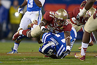 December 7, 2013  (Charlotte, North Carolina)  Florida State Seminoles defensive back Terrence Brooks #31 tackles Duke Blue Devils wide receiver Issac Blakeney #17 in the 2013 ACC Championship game.  (Photo by Don Baxter/Media Images International)
