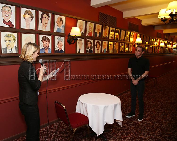 Kelli O'Hara and Ben Platt during the Ben Platt Sardi's Portrait unveiling at Sardi's on May 30, 2017 in New York City.