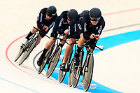 Picture by Alex Whitehead/SWpix.com - 10/12/2017 - Cycling - UCI Track Cycling World Cup Santiago - Velódromo de Peñalolén, Santiago, Chile - New Zealand's Harry Waine, Campbell Stewart, Jared Gray and Nicholas Kergozou compete in the Men's Team Pursuit first round.