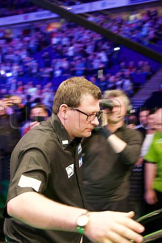 2.04.2015.  Manchester, England. Betway Premier League Darts. Judgement Night. 2014 Master Champion James Wade walks on.