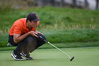 Viktor Hovland (NOR)(a) lines up his putt on 17 during round 4 of the 2019 US Open, Pebble Beach Golf Links, Monterrey, California, USA. 6/16/2019.<br /> Picture: Golffile | Ken Murray<br /> <br /> All photo usage must carry mandatory copyright credit (© Golffile | Ken Murray)